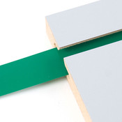"Vinyl slatwall insert - green - .010 thick x 1"" wide x 130' long"