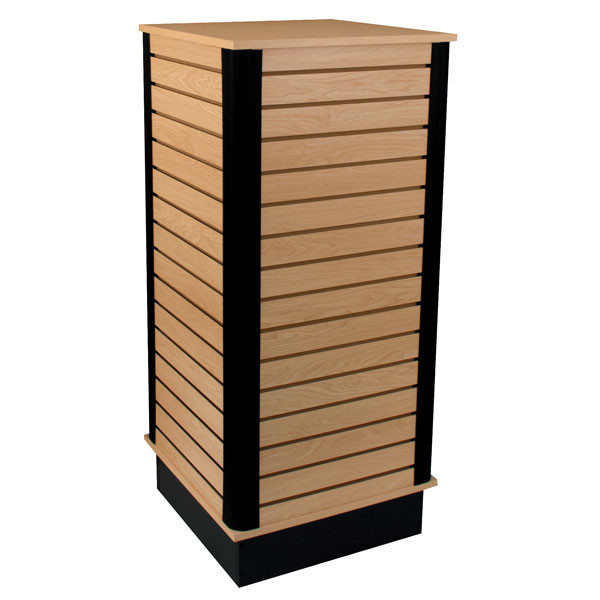 "Slatwall cube with base 24""x24""x54"" high - maple"