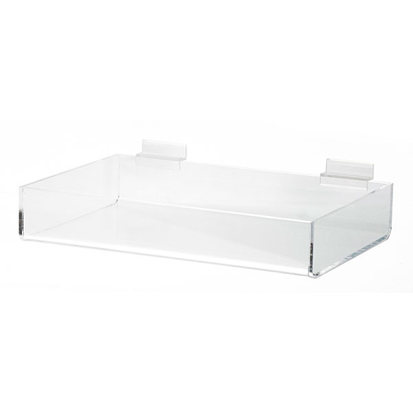 "Acrylic slatwall tray - 12""l x 8""w x 2.5""d"