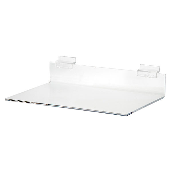 """Acrylic slatwall shelf - 8""""d x 12""""w x 3/16"""" thick"""