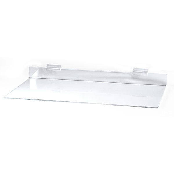 "Acrylic slatwall shelf - 12""d x 24""l x 3/16"" thick"