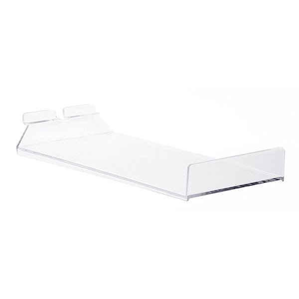 "Acrylic slatwall cap shelf - 12""d x 6.5""w"