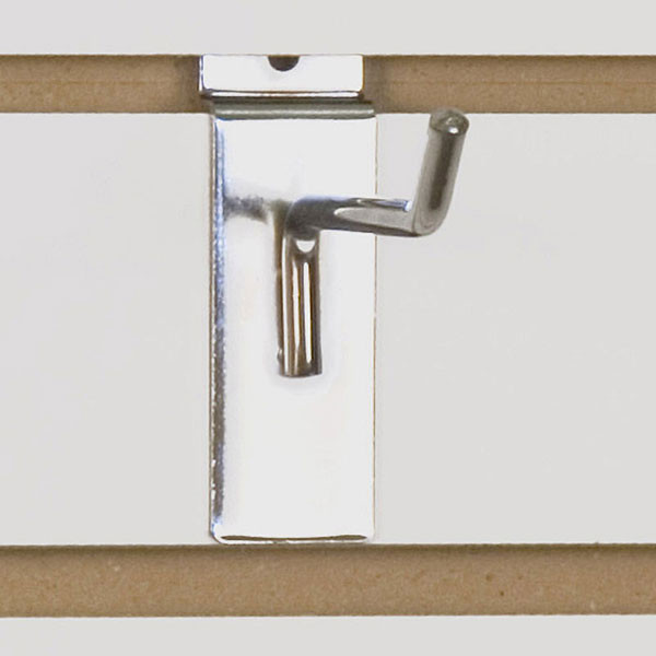 "Slatwall hook 4"" long - 1/4"" wire chrome"