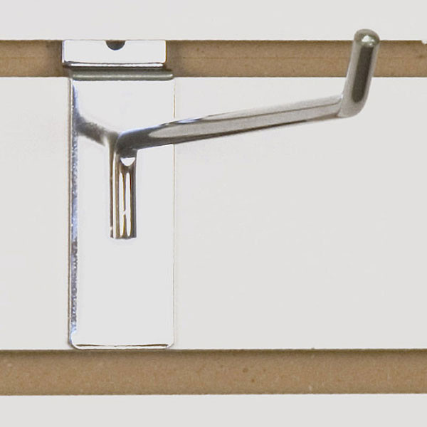 "Slatwall hook 10"" long - 1/4"" wire chrome"