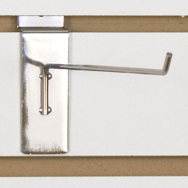 """Slatwall hook 10"""" long 1/8"""" dia. wire chrome"""