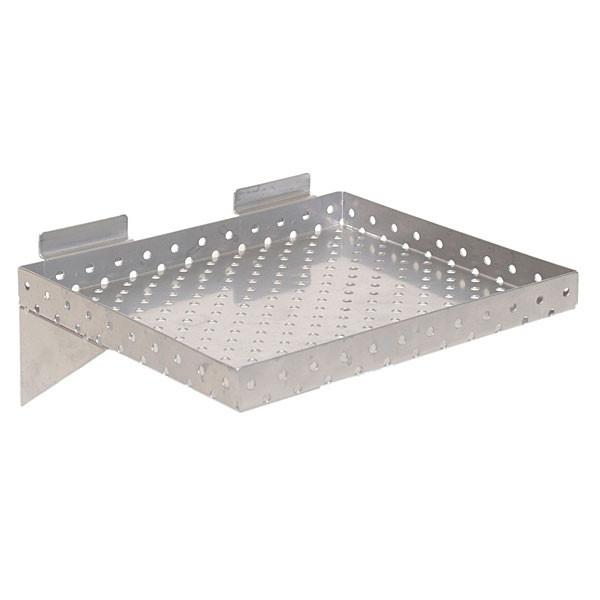 """Slatwall shelf 12""""w x 10""""d x 1"""" perforated metal - silver"""