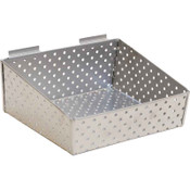 "Slatwall basket 12""w x 10""d x 3""h to 5""h back metal - silver"