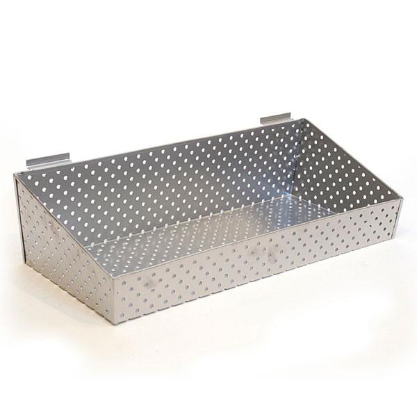 """Slatwall basket 24""""w x 10""""d x 3""""h to 6""""h back metal - silver"""