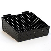 "Slatwall basket 12""w x 10""d x 3""h to 5""h back metal - black"