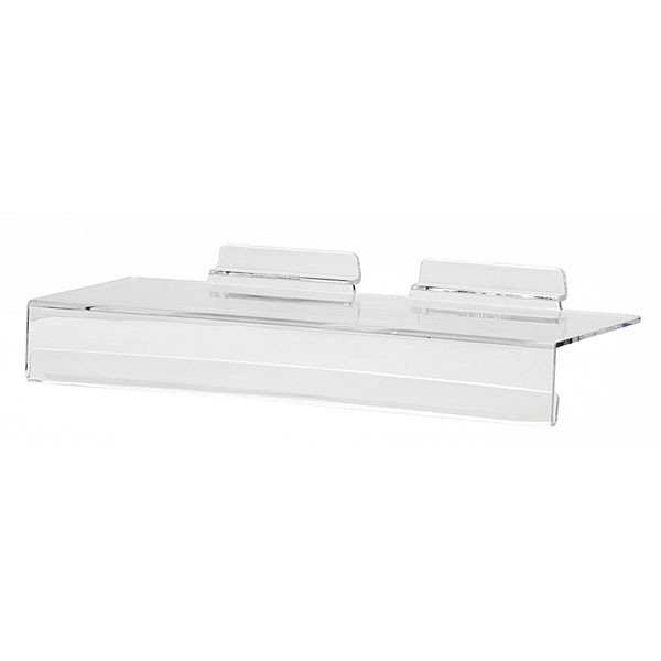 "Acrylic slatwall shelf with sign holder 4""d x 10""w molded"