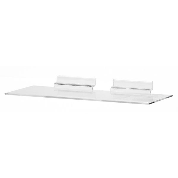"Acrylic slatwall shoe shelf - 4""d x 10""w molded"