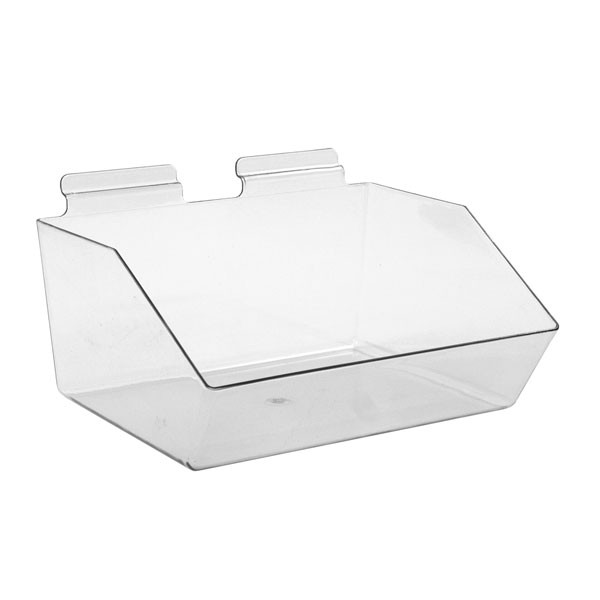 """Slatwall acrylic dump bin - clear 12""""w x 9-1/2""""d x 5-1/2""""h"""