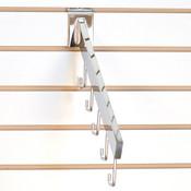 Slatwall waterfall 5-hook rectangular tube - chrome