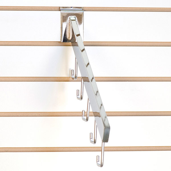 Slatwall waterfall 5-hook rectangular tube - chrome