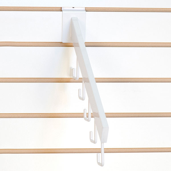 Slatwall waterfall 5-hook rectangular tube - white