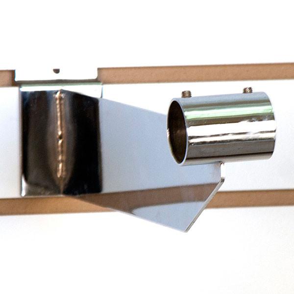"""Slatwall hangrail bracket- 12"""" for 1-1/4"""" round tubing - chrome"""