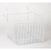"Basket 12""w x 12""d x 8""h fits slatwall grid pegboard - white"