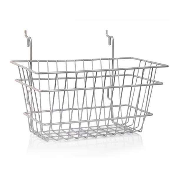"Basket 12""w x 6""d x 6""h fits slatwall, grid, pegboard - powder coat chrome"