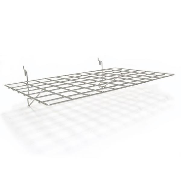 "Flat shelf 23-1/2""w x 14""d fits slatwall, grid, pegboard - powder coat chrome"