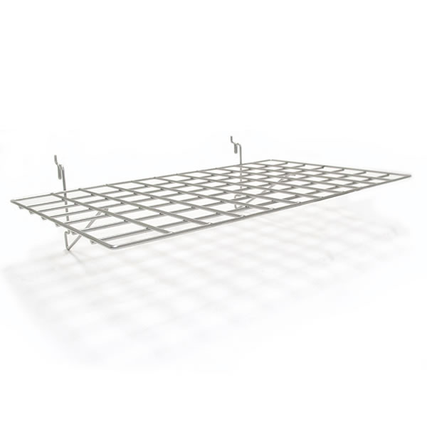 "Flat shelf 23-1/2""w x 14""d fits slatwall, grid, pegboard - powder coat chrome"