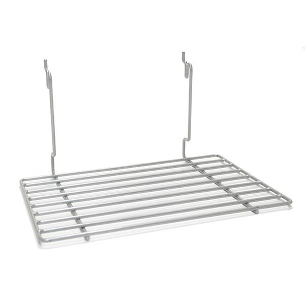 "Flat shelf 12""w x 8""d fits slatwall, grid, pegboard - powder coat chrome"
