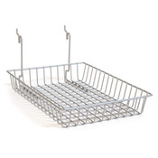 "Basket 10""w x 14""d x 2""h fits slatwall, grid, pegboard - powder coat chrome"