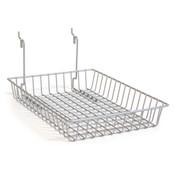 "Basket 10""w x 14""d x 2""h fits slatwall, grid, pegboard - powder coat chrome"
