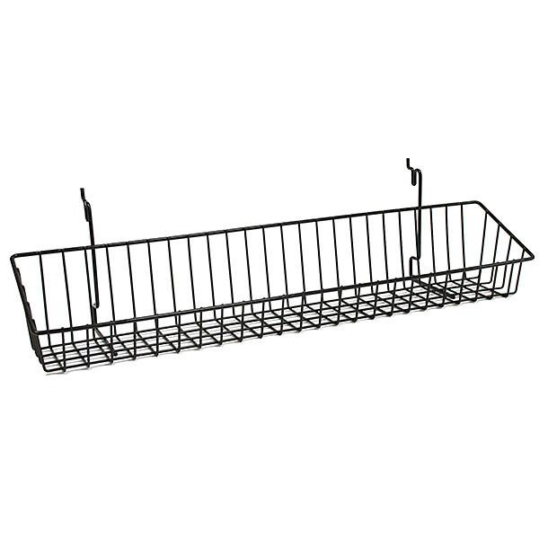 Wire Basket 23w x 4d x 3h - Black fits slatwall grid pegboard