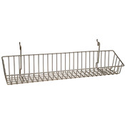 Wire Basket 23w x 4d x 3h - Powder Coated Chrome fits slatwall grid pegboard