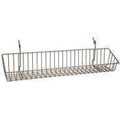 Wire Basket 23w x 4d x 3h - Powder Coated Chrome fits slatwall grid pegboard