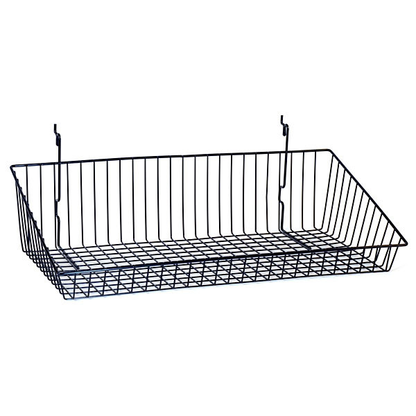 """Sloping basket 24""""w x 12""""d x 6""""h back x 2""""h front Universal fit black"""