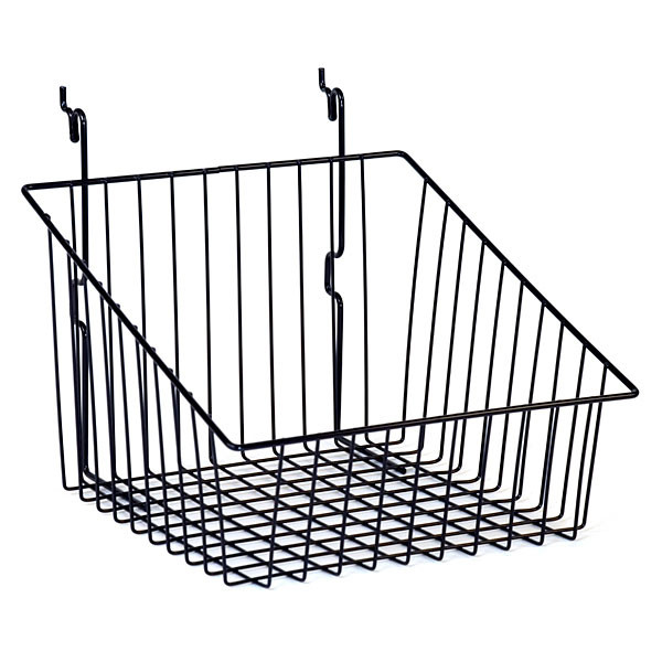 """Sloping basket 12""""w x 12""""d x 8""""h back x 4""""h front Universal fit black"""