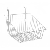 """Sloping basket 12""""w x 12""""d x 8""""h back x 4""""h front Universal fit white"""