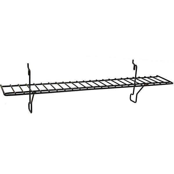 Wire Shelf 23w x 4d - Black fits slatwall grid pegboard