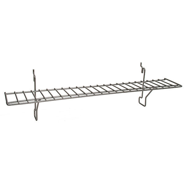 Wire Shelf 23w x 4d - Powder Coated Chrome fits slatwall grid pegboard