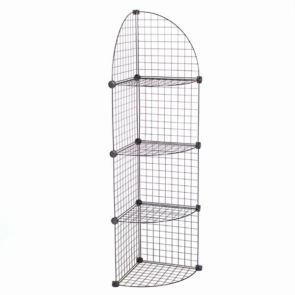 Mini grid corner unit 4 shelf - black