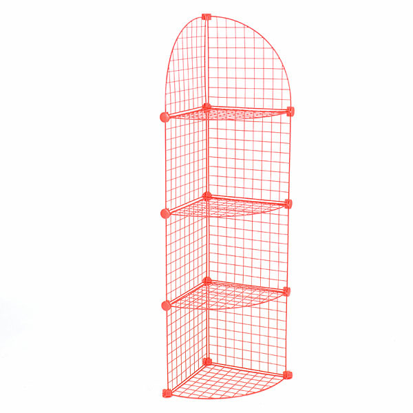 Mini grid corner unit 4 shelf - red