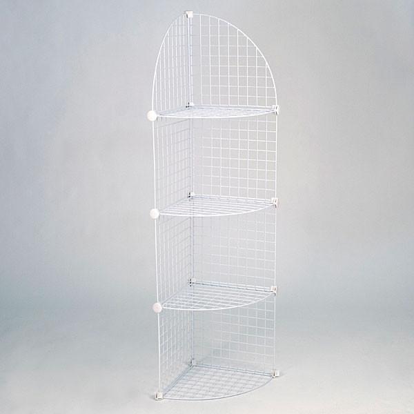 Mini grid corner unit 4 shelf - white