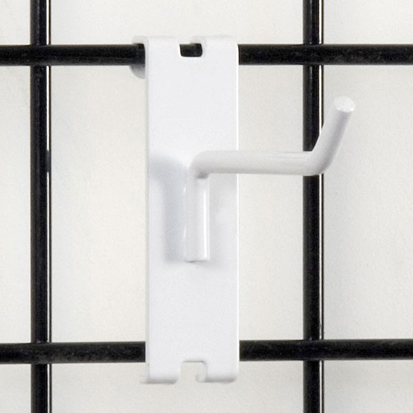 "Gridwall hook 4"" long - 1/4"" wire white"