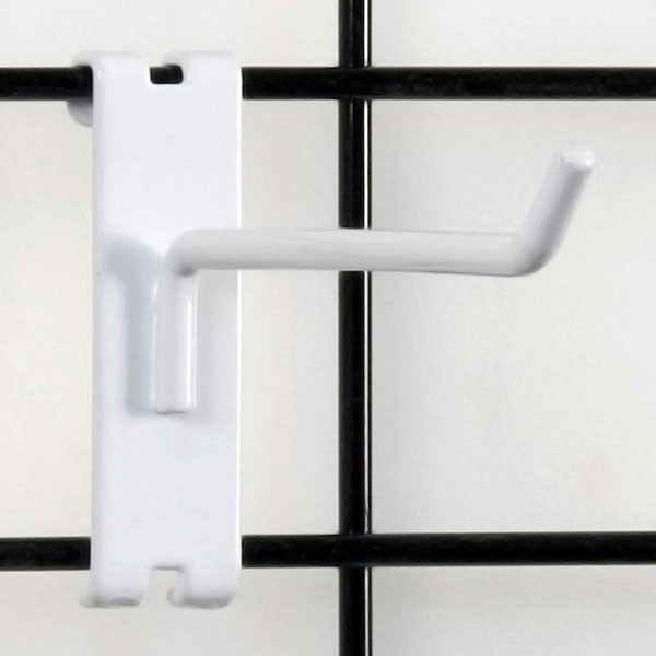 "Gridwall hook 6"" long - 1/4"" wire white"
