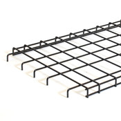 Straight grid shelf 36wx18d with downturn edge - black