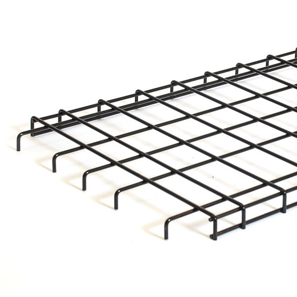Straight grid shelf 48wx18d with downturn edge - black
