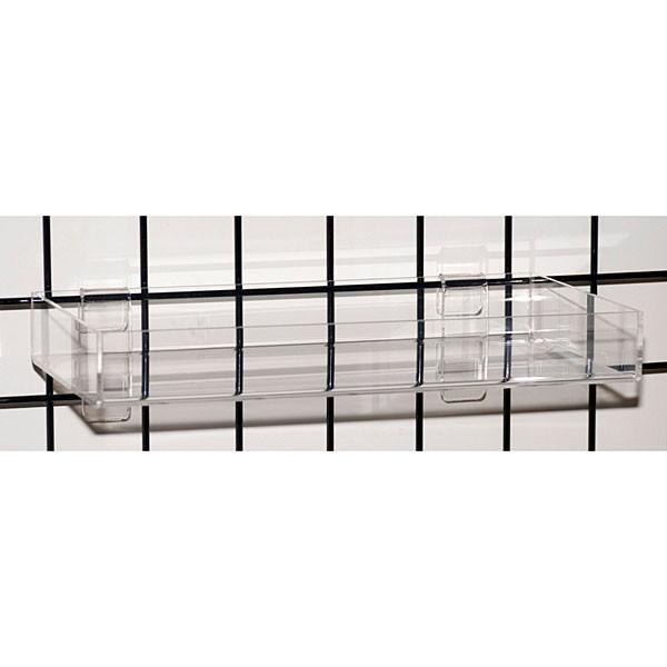 """Acrylic grid tray 16""""l x 8""""w x 2""""h x 3/16""""t - clear"""