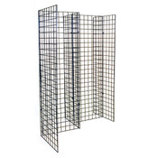Freestanding grid unit with five 2'x6' panels - black