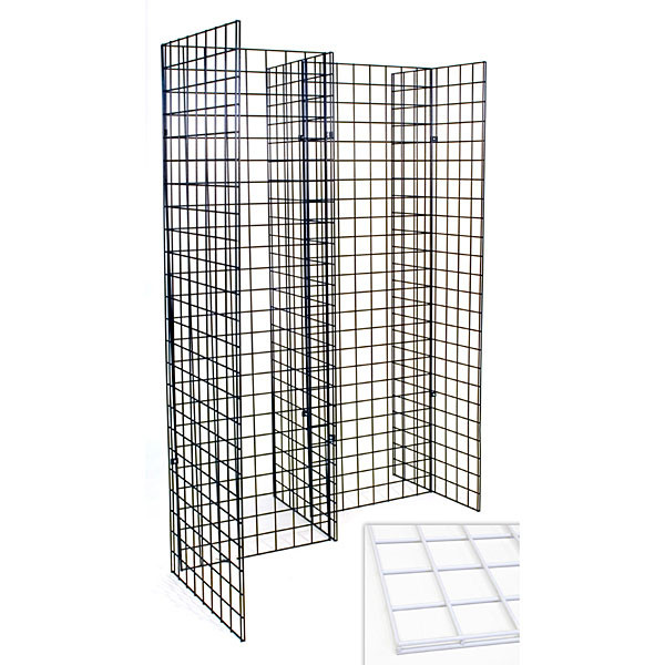 Freestanding grid unit with five 2'x6' panels - white