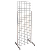 Single Grid Merchandiser with Heavy Duty Legs - Chrome