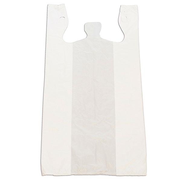 "Plastic T-shirt bag high density 12""x24""x6"" - white"