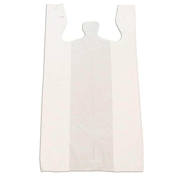 "Plastic T-shirt bag high density 12""x24""x6"" - white"