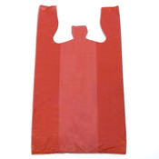 "Plastic T-shirt bag high density 12""x7.5""x23"" .60 mil thick - red"
