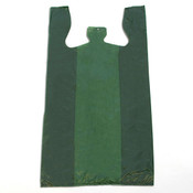 "Plastic T-shirt bag high density 12""x7.5""x23"" .60 mil thick - green"